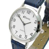 Ravel Mens Super-Clear Easy Read Quartz Watch Blue Band White Face R0102.16.1A